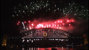 New Years Eve fireworks on Sydney Harbour Bridge at 60fps-8 Stock Photo