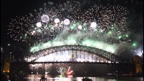 New Years Eve fireworks on Sydney Harbour Bridge at 60fps-9 stock footage