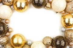 New Years Eve frame of gold, black and white ornaments over white stock images