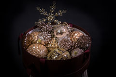 New years eve gift box with toys Stock Image