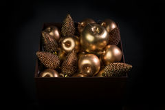 New years eve gift box with toys Stock Photography