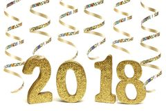 New Years Eve 2018 gold numbers with streamers isolated on white. New Years Eve 2018 golden numbers with shiny streamers isolated on white Royalty Free Stock Images