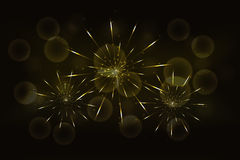 New years eve golden fireworks with blurred glowing golden bokeh. Effect on backdrop. Celebration firework in yellow colors with abstract rounded or circular Stock Photos