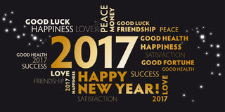 New Years Eve 2017 - happy new year 2017 black Royalty Free Stock Photography