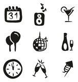 New Years Eve Icons Freehand Fill Stock Images