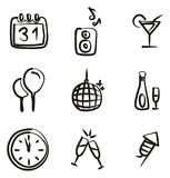 New Years Eve Icons Freehand Stock Images