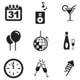 New Years Eve Icons. This image is a vector illustration and can be scaled to any size without loss of resolution Stock Image