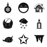 New Years eve icons set, simple style Royalty Free Stock Images