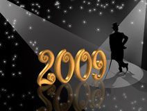 New Years Eve invitation 2009. Illustration for New Years Eve celebration with sparkling lights, 3D gold numbers and silhouette of man in top hat and tails Royalty Free Stock Photo