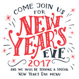 New Years Eve 2017 invitation card. New Years Eve 2017. Hand-lettering isolated on white background. Holiday typography invitation card and menu Stock Photo