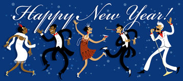 New Years Eve Party. Funny cartoon people dancing the Charleston, celebrating New Year at a Gatsby style party, EPS 8 vector illustration Stock Photo