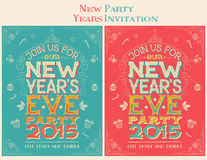 New Years Eve party invitation. Hand-lettering. Set of two color options Stock Images