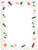 New Years Eve Party Theme Frame. Decorative New Year's Eve Party border consisting of confetti, party poppers, colorful noise-makers and clackers. Ideal for Stock Photo