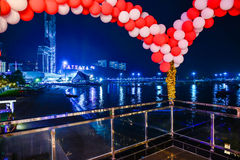 New Years Eve in Pattaya. Scenic view of Pattaya skyline with balloon decorations in the foreground taken on New Years Eve, 31st of  December 2014, Thailand Stock Image