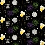 New years eve pattern with balloons and fireworks on black background. New years eve vector pattern with balloons and fireworks on black background vector illustration