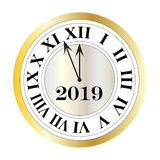 2019 new years eve silver gold clock graphic royalty free illustration