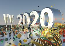 2020 New Years Eve. 2020 Silvester - New Years Eve Party with sparkling wine and confetti Royalty Free Stock Photos