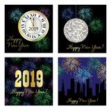 New years eve 2019 square graphics vector illustration