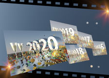 2016 - 2020 New Years Eve Timeline Stock Photography