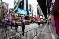 2015 New Years Eve Times Square. Crowds gather waiting for 2016 starting as early as 1pm for to bring in the New Year in New York City, famed Times Square Royalty Free Stock Photo