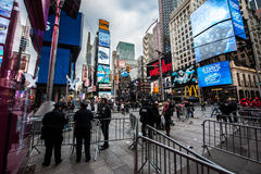 2015 New Years Eve Times Square. Crowds gather waiting for 2016 starting as early as 1pm for to bring in the New Year in New York City, famed Times Square Stock Images
