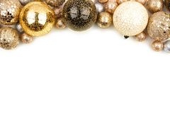 New Years Eve top border of gold, black and white ornaments over white royalty free stock photography