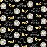 New years eve pattern with clocks and gold masks royalty free illustration