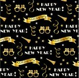 New years eve 2019 pattern with gold banners, glasses, stars and confetti streamers. New years eve 2019 vector pattern with gold banners, glasses, stars and vector illustration