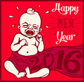 2016 New years eve vintage cartoon vector illustration with crying new born baby. Happy new year 2016! New years eve vintage cartoon clipart with crying new born Stock Photography