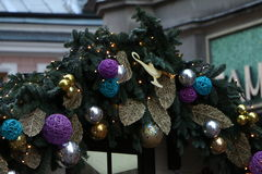 New years fairy tail. The street Arbat in Moscow during Cristmas holidays Royalty Free Stock Photography