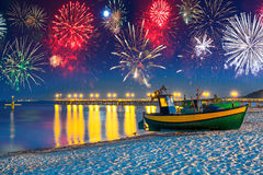 New Years firework display at Baltic Sea. Poland Royalty Free Stock Photos