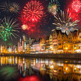 New Years firework display in Gdansk Stock Photography