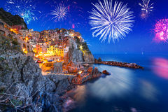 New Years firework display in Manarola Royalty Free Stock Images