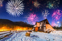 New Years firework display in Tatra mountains Stock Image