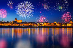 New Years firework display in Torun Royalty Free Stock Photography