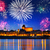 New Years firework display in Torun Stock Photo