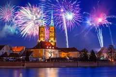 New Years firework display in Wroclaw. Poland Royalty Free Stock Photography