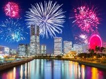 New Years firework display in Yokohama Stock Photo