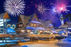 New Years firework display in Zakopane, Poland Stock Photography