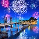 New Years firework display at Zakynthos island Royalty Free Stock Photography