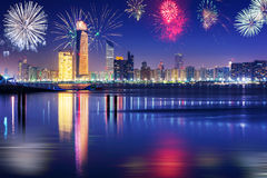 New Years fireworks display in Abu Dhabi Stock Photo