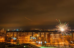New Years fireworks over the city of Kazan Stock Images