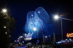 New Years Fireworks. Prague, Czech Republic: Long exposure photo of New Years Fireworks to celebrate New Year 2014 in Prague on January 1, 2014 Stock Images