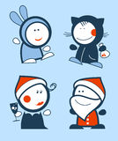 New Years Funny people icons. Set of new years funny people icons Royalty Free Stock Image