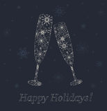 New Years glasses. New Years champagne glasses from snowflakes. Holiday decorations royalty free illustration