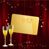 New Years golden tag with date and champagne Royalty Free Stock Photography