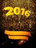 New Years golden tiles wall with text and banner Stock Image