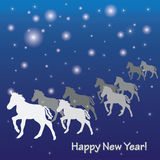 New Years greeting card. Blue New Years greeting card with horses in vector Stock Images
