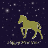 New Years greeting card. Blue New Years greeting card with pony in vector Royalty Free Stock Image