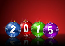 2015 new years greeting card. With christmas balls Stock Photography